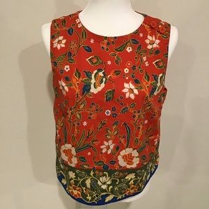TORY BURCH Orange Samba Batik Flower Dayton Top
